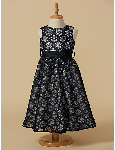 A-Line Tea Length Flower Girl Dress - Lace Sleeveless Jewel Neck with Bow(s) Sash / Ribbon Flower by LAN TING BRIDE®