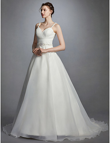 Princesa Escote Corazón Corte Organza Vestidos de novia hechos a medida con Cuentas / Cinta / Lazo / Fruncido por LAN TING BRIDE® / Espalda Abierta