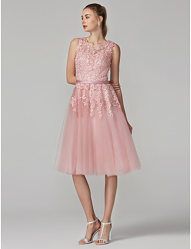 Weddings & Events Pink 2019 Elegant Cocktail Dresses Sheath High Collar Knee Length Chiffon Appliques Lace See Through Homecoming Dresses