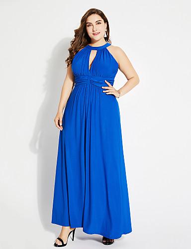 Damskie Wyjściowe Moda miejska Swing Sukienka - Solidne kolory Halter Wysoka talia Maxi
