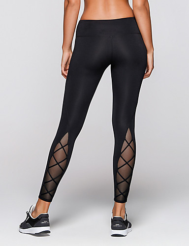 2e17ad9e3ce Women s Patchwork Yoga Pants Black Sports Solid Color Spandex Mesh Tights  Leggings Zumba Running Fitness Activewear Compression Butt Lift Tummy  Control ...