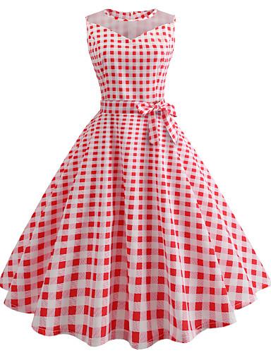 217734e8a916e Women's Daily Going out Vintage Slim Swing Dress - Check Print Spring  Cotton Black Red L XL XXL