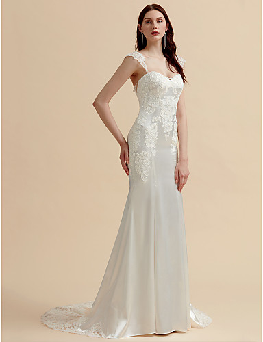 604b345272f Mermaid   Trumpet Sweetheart Neckline Court Train Stretch Satin  Made-To-Measure Wedding Dresses with Appliques   Button by LAN TING BRIDE®    See-Through