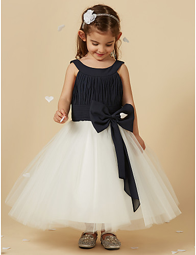 b550232a58b A-Line Knee Length Flower Girl Dress - Chiffon   Tulle Sleeveless Scoop Neck  with Bow(s) by LAN TING BRIDE®