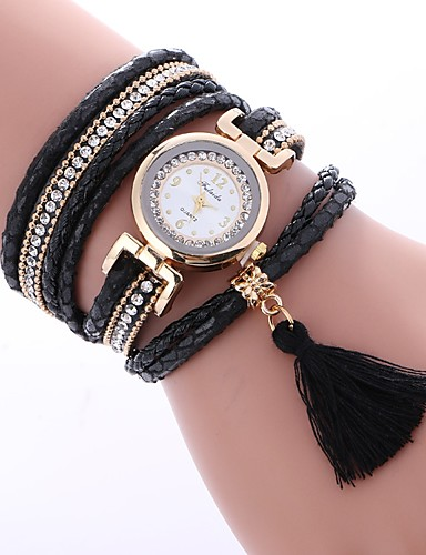 1d50561fc Women's Bracelet Watch Diamond Watch Wrap Bracelet Watch Quartz Quilted PU  Leather Black / White / Blue Casual Watch Imitation Diamond Analog Ladies  Casual ...