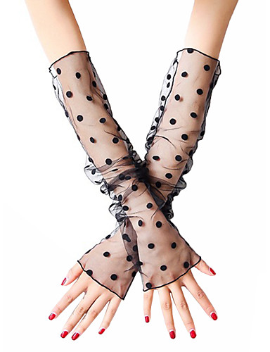 Women's Cute / Party Fingerless Gloves - Striped Lace