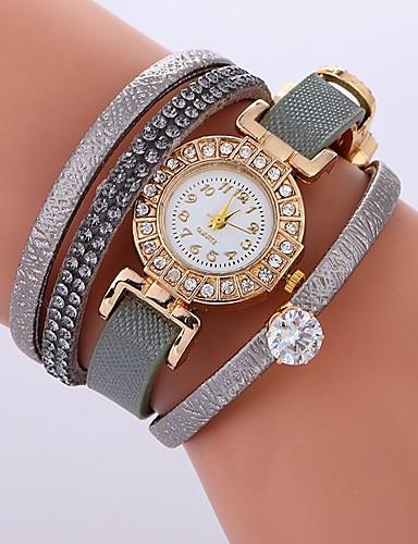 Pentru femei Ceas Brățară Quartz Ceas Casual Cool imitație de diamant PU Bandă Analog Boem Modă Negru / Alb / Roșu - Fucsia Rosu Verde Un an Durată de Viaţă Baterie