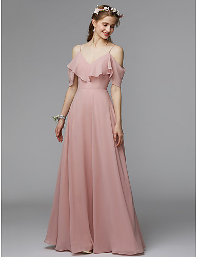 cheap Bridesmaid Dresses-Morilee Style A-Line Spaghetti Strap Floor Length Chiffon / Charmeuse Bridesmaid Dress with Ruffles by LAN TING BRIDE® / Open Back