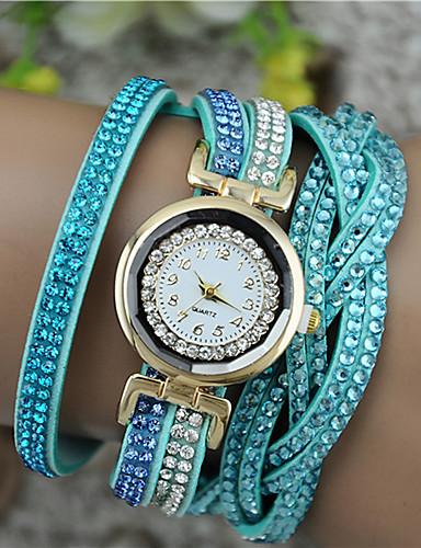 voordelige Armband Horloge-Dames Armbandhorloge Diamond Watch wikkel horloge Kwarts Gewatteerd PU-leer Zwart / Wit / Blauw Vrijetijdshorloge Analoog Dames Glitter Modieus - Roos Bruin Lichtblauw