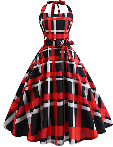 Women's Vintage Swing Dress - Geometric Print