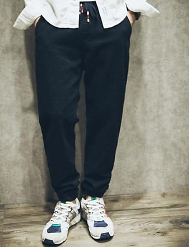 Męskie Prosty Bawełna Luźna Typu Chino Spodnie Jendolity kolor