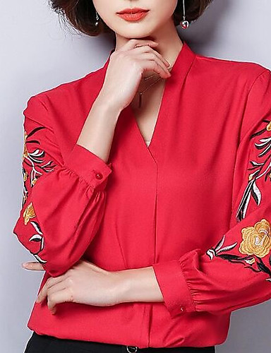Bluzka Damskie Moda miejska Wyjściowe W serek Kwiaty