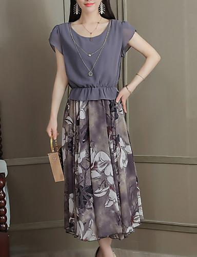 Pentru femei Zvelt Pantaloni - Mată / Floral Negru / Ieșire