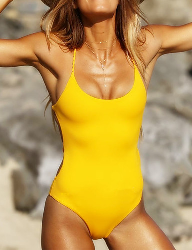 Women's Basic Strapless White Yellow Bandeau Thong One-piece Swimwear - Solid Colored S M L White / Sexy