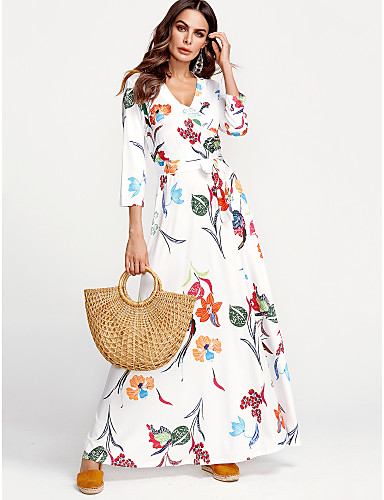 baratos Vestidos Longos-Mulheres Tamanhos Grandes Moda de Rua Algodão Bainha Vestido - Estampado, Floral Decote V Longo Branco