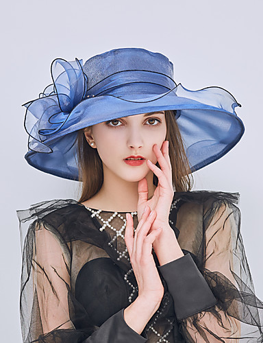 billige Damehatte-Dame Kentucky Derby Basale Ferie Solhat-Net Net,Ensfarvet Sommer Rosa Vin Kakifarvet / Stof