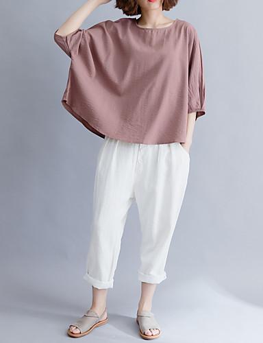 billige Topper til damer-Bomull Draperte ermer T-skjorte Dame - Ensfarget, Åpen rygg Vintage Svart og hvit / Dusty Rose Hvit En Størrelse