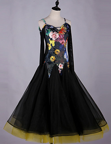 648aa59abc4a Ballroom Dance Dresses Women's Performance Spandex Pattern / Print / Ruching  Long Sleeve Dress