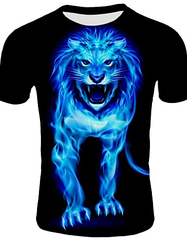 a5b9dfc5a86e Ανδρικά T-shirt Παραλία Βαμβάκι Συνδυασμός Χρωμάτων   Ζώο Στρογγυλή  Λαιμόκοψη Λεπτό Στάμπα Λιοντάρι Μαύρο