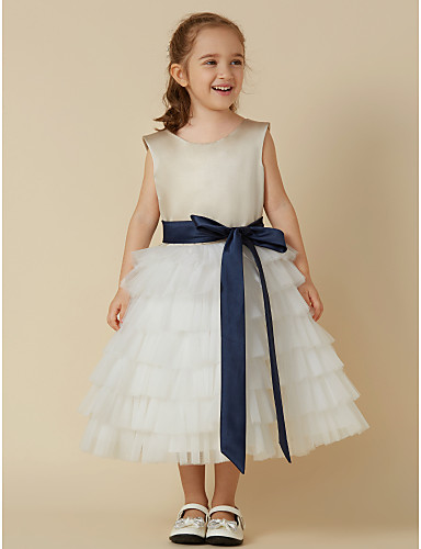 f3428d3bec2 A-Line Tea Length Flower Girl Dress - Satin   Tulle Sleeveless Jewel Neck  with Sash   Ribbon by LAN TING BRIDE®