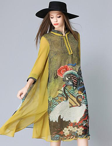 Damskie Wzornictwo chińskie Sukienka swingowa Sukienka - Zwierzę, Nadruk Midi