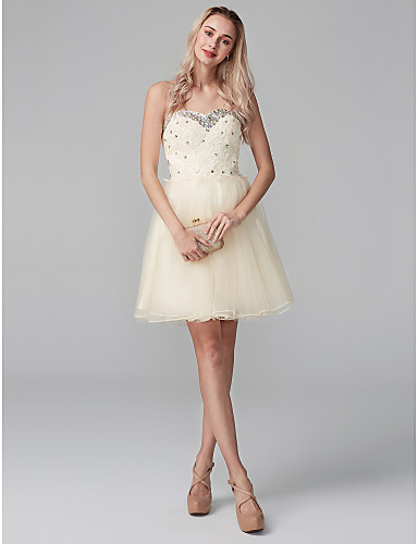 5bcf233614fd Ball Gown Sweetheart Neckline Short / Mini Chiffon / Beaded Lace Sparkle &  Shine Cocktail Party Dress with Crystals / Lace by TS Couture® #04991468