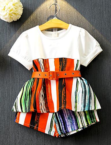 Dzieci / Brzdąc Dla dziewczynek Patchwork Krótki rękaw Komplet odzieży