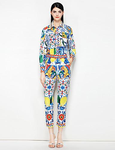 Damskie Vintage / Moda miejska Koszula - Nadruk, Kwiaty Nogawka