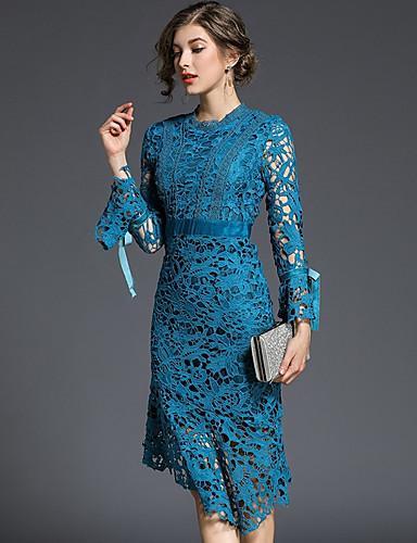 2555714cc3f8 Per donna sofisticato Cotone Taglia piccola Pantaloni - Tinta unita    Fantasia geometrica Pizzo   Con balze   Nappa Blu   Feste   Asimmetrico del  6661708 ...