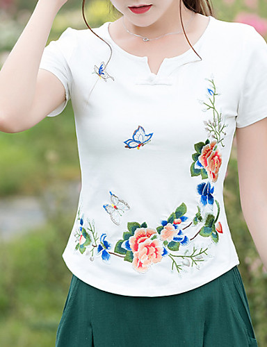 T-shirt Damskie Wyjściowe Kwiaty