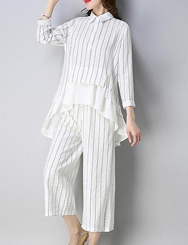 Per donna Ufficio Moda città / sofisticato Taglie forti Set - Con balze, A strisce Colletto Pantalone / Estate / a righe sottili / Sexy