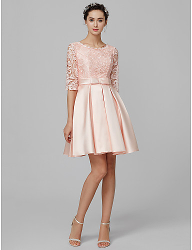 A-linje Scoop Neck Kort / mini Sateng / Livstykke i blonder Brudepikekjole med Blonder av LAN TING BRIDE®