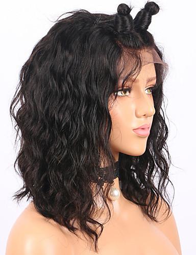 povoljno Perike s ljudskom kosom-Remy kosa Full Lace Perika Bob frizura Kratak Bob stil Brazilska kosa Water Wave Perika 130% Gustoća kose s dječjom kosom Prirodna linija za kosu Izbijeljeni čvorovi Žene Kratko Perike s ljudskom
