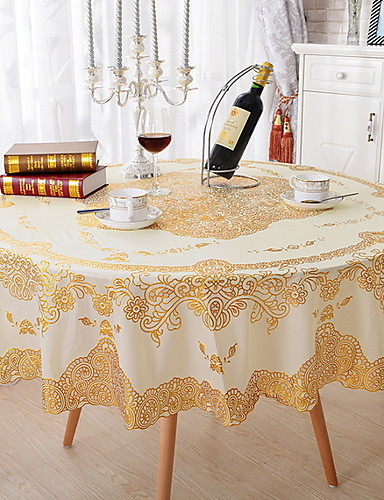 cheap Table Cloths-Contemporary PVC(PolyVinyl Chloride) Round Table Cloth Floral Geometric Table Decorations 1 pcs