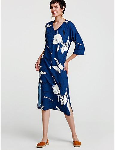 baratos Vestidos Longos-Mulheres Algodão Túnicas Vestido - Estampado, Floral Decote V Mini Azul / Solto