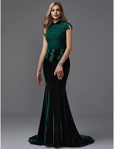 Mermaid / Trumpet High Neck Court Train Lace / Velvet Sparkle & Shine Formal Evening Dress with Beading by TS Couture®