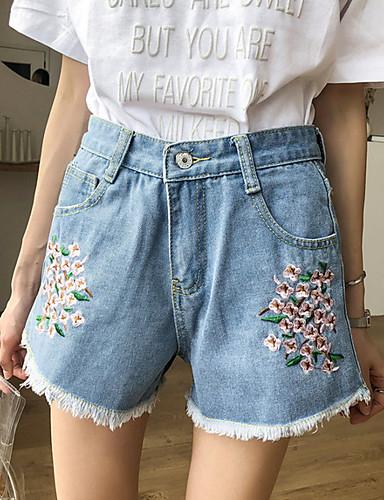 Pentru femei Talie Înaltă Bumbac Picior Larg Pantaloni Floral