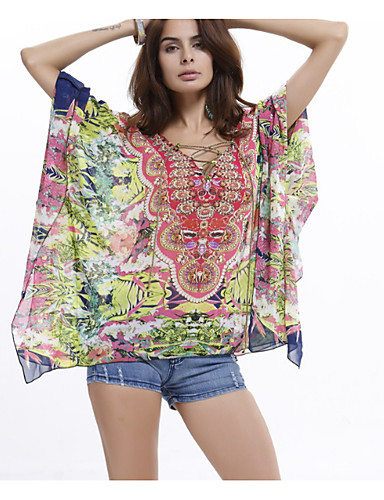 Pentru femei Tricou De Bază / Șic Stradă - Geometric / Bloc Culoare Imprimeu