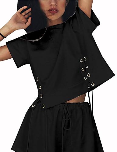 Pentru femei Tricou Vintage - Mată / Geometric Franjuri Alb negru