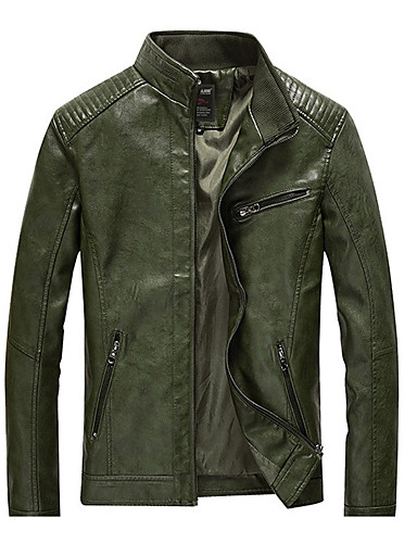 d3fa1a1f074 Men s Daily Basic Spring   Fall Plus Size Regular Leather Jacket