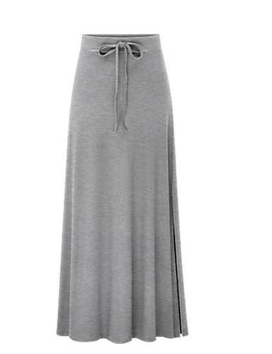abordables Jupes-Femme Quotidien Maxi Trapèze Jupes - Couleur Pleine Taille haute Noir Vert Véronèse Bleu M L XL