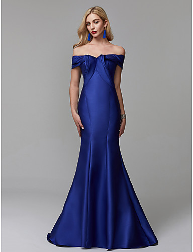 cheap Mermaid Dresses-Mermaid / Trumpet Off Shoulder Sweep / Brush Train Satin Formal Evening Dress with Ruffles by TS Couture®