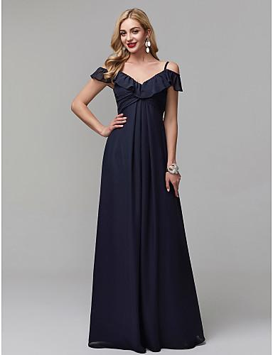 גזרת A רצועות ספגטי עד הריצפה שיפון גב פתוח נשף רקודים / ערב רישמי שמלה עם קפלים על ידי TS Couture®