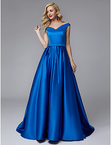Blue Ball Gown V Neck Sweep / Brush Train Satin Bridesmaid Dress with Sash / Ribbon / Pleats by LAN TING BRIDE®
