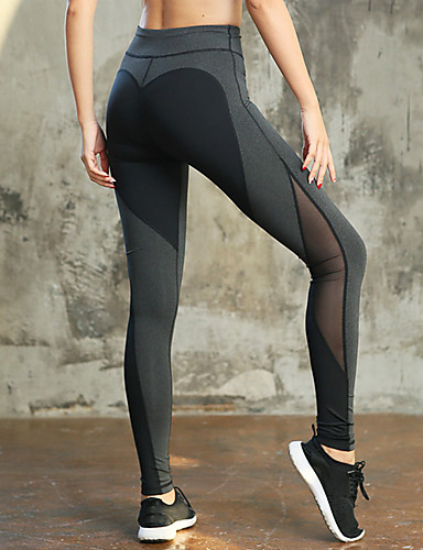 f9d2cd1998745 Women's Patchwork Yoga Pants Black Grey Black / Blue Sports Heart Mesh Tights  Leggings Running Fitness Gym Workout Activewear Fast Dry Compression Butt  Lift ...