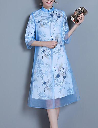Pentru femei Chinoiserie / Sofisticat Shift Rochie - Dantelă, Plisat / Animal Lungime Genunchi Macara