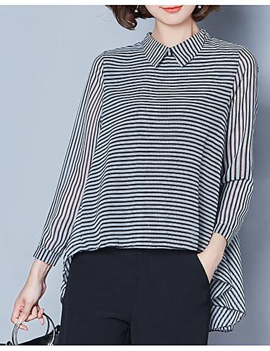 Pentru femei Guler Cămașă Bluză De Bază - Dungi Imprimeu
