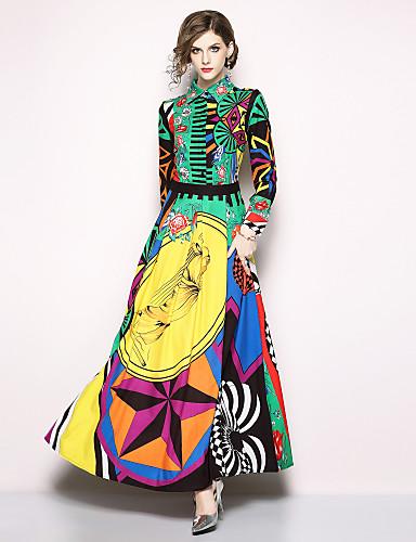 voordelige Maxi-jurken-Dames Feestdagen Uitgaan Boho Street chic Wijd uitlopend Jurk - Geometrisch, Print Overhemdkraag Maxi