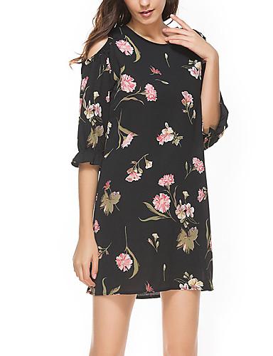 Pentru femei Mărime Plus Size Vintage Bumbac Mâneci Bufante Shift Rochie - Plisată, Mată Lungime Genunchi Negru & Roșu