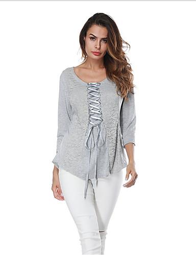 bluza pentru femei - bloc de culoare / gât rotund solid colorat